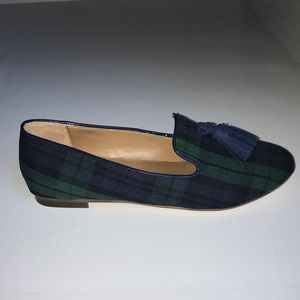 JCrew Plaid Cora Loafers with tassels